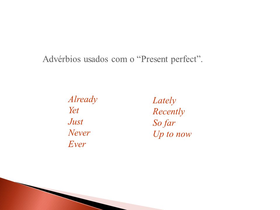 AlreadyYetJustNeverEver Advérbios usados com o Present perfect . LatelyRecently So far Up to now
