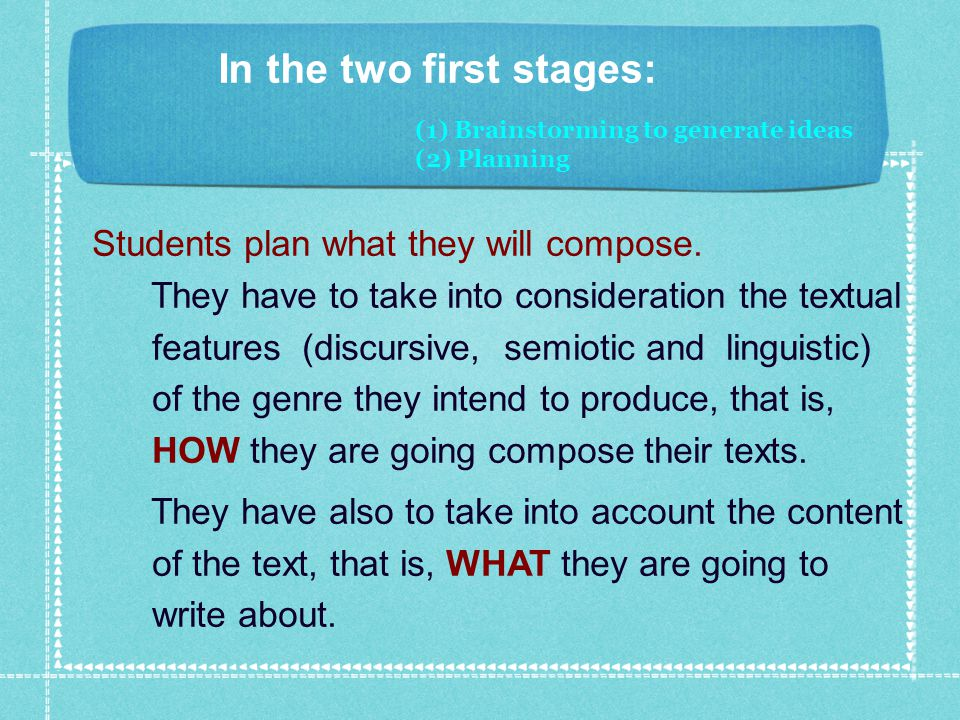 (1) Brainstorming to generate ideas (2) Planning In the two first stages: Students plan what they will compose.