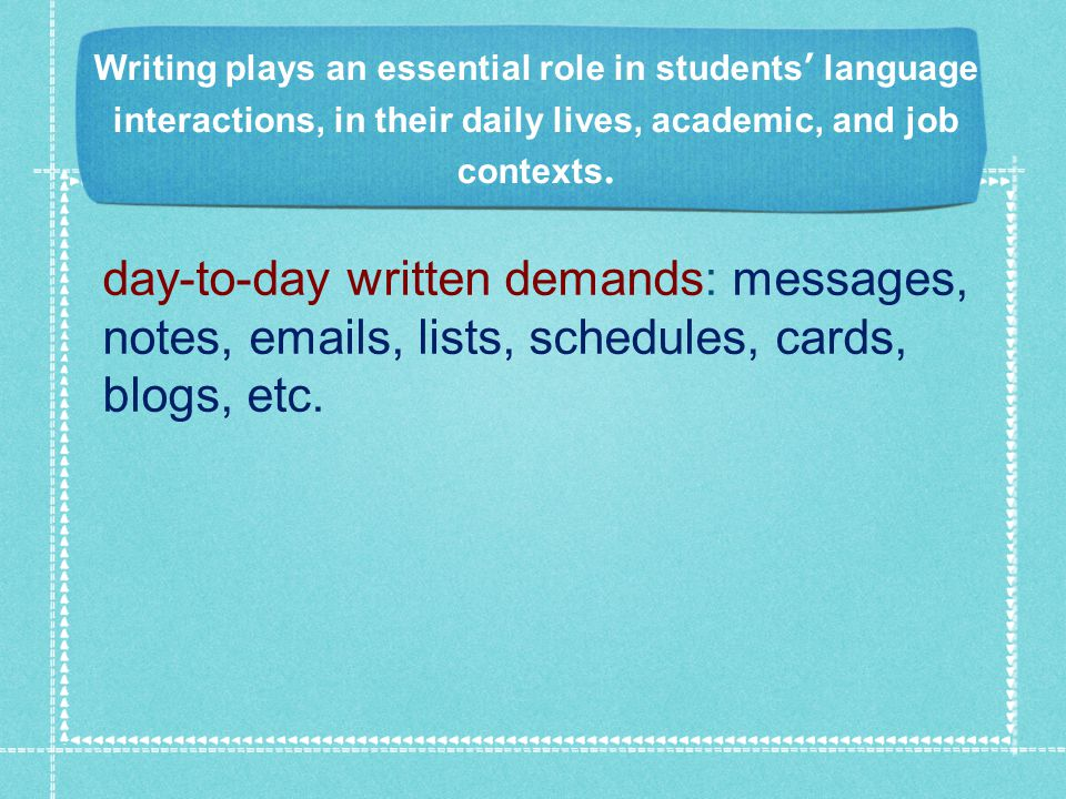 Writing plays an essential role in students' language interactions, in their daily lives, academic, and job contexts.