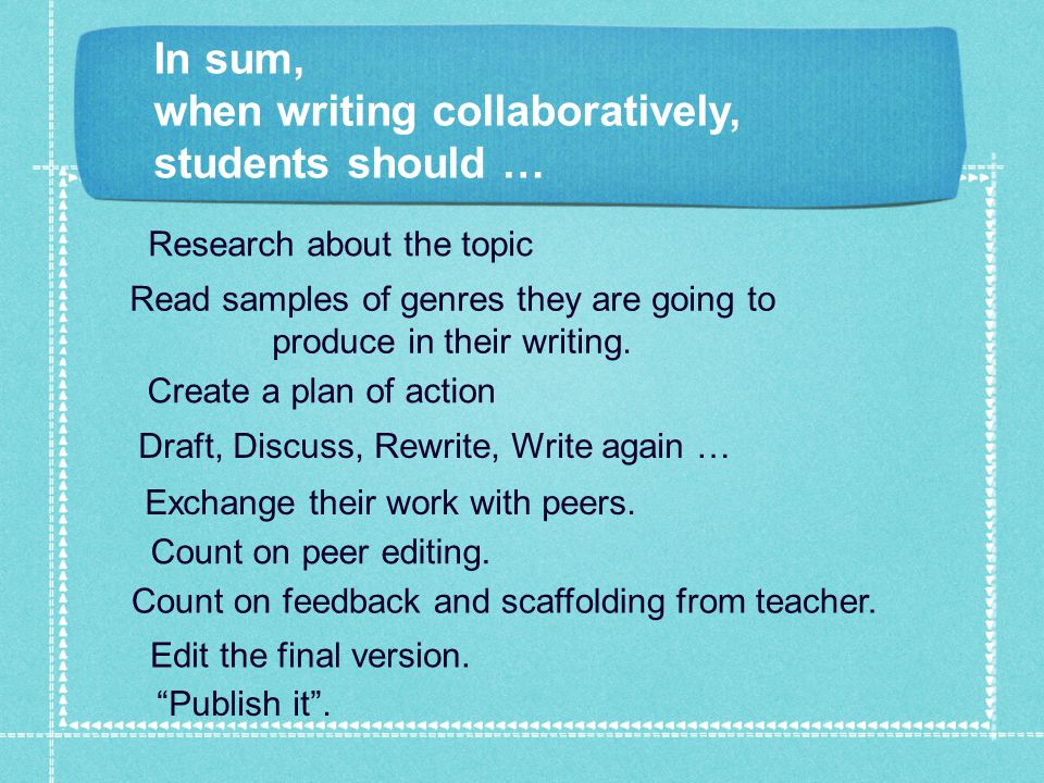 In sum, when writing collaboratively, students should … Research about the topic Create a plan of action Read samples of genres they are going to produce in their writing.