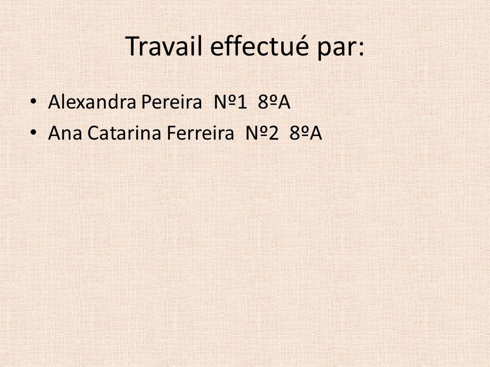 Travail effectué par: Alexandra Pereira Nº1 8ºA Ana Catarina Ferreira Nº2 8ºA
