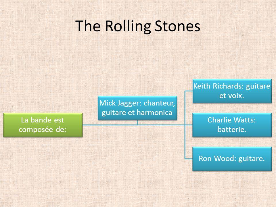 The Rolling Stones La bande est composée de: Keith Richards: guitare et voix. Charlie Watts: batterie. Ron Wood: guitare. Mick Jagger: chanteur, guita