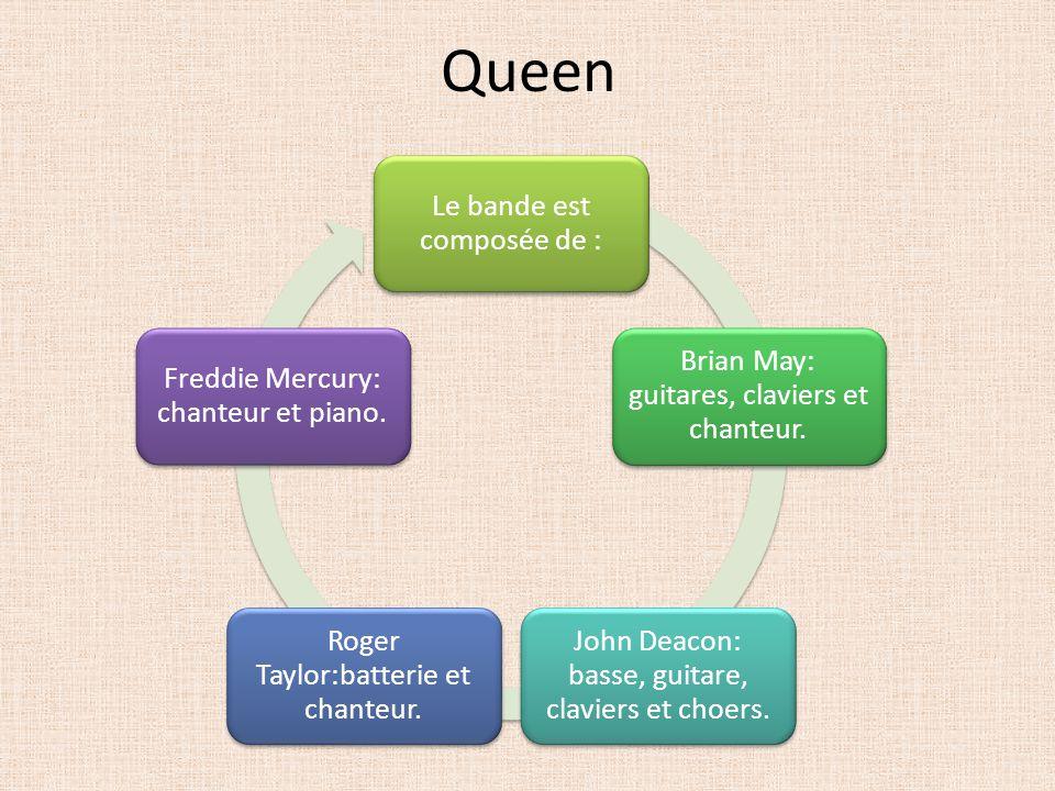 Queen Le bande est composée de : Brian May: guitares, claviers et chanteur. John Deacon: basse, guitare, claviers et choers. Roger Taylor:batterie et