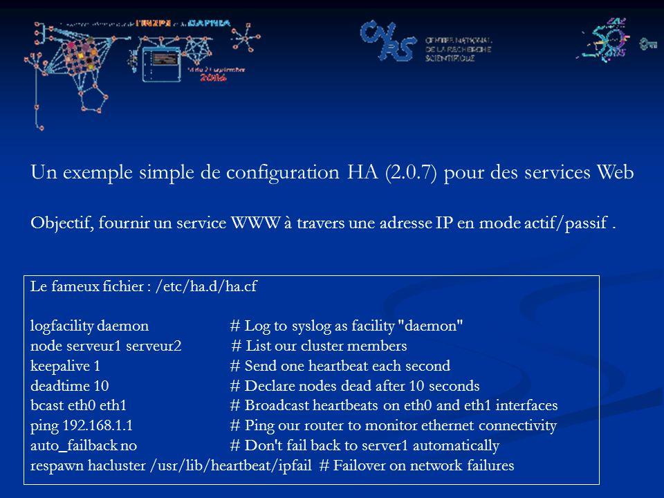 Un exemple simple de configuration HA (2.0.7) pour des services Web Objectif, fournir un service WWW à travers une adresse IP en mode actif/passif.