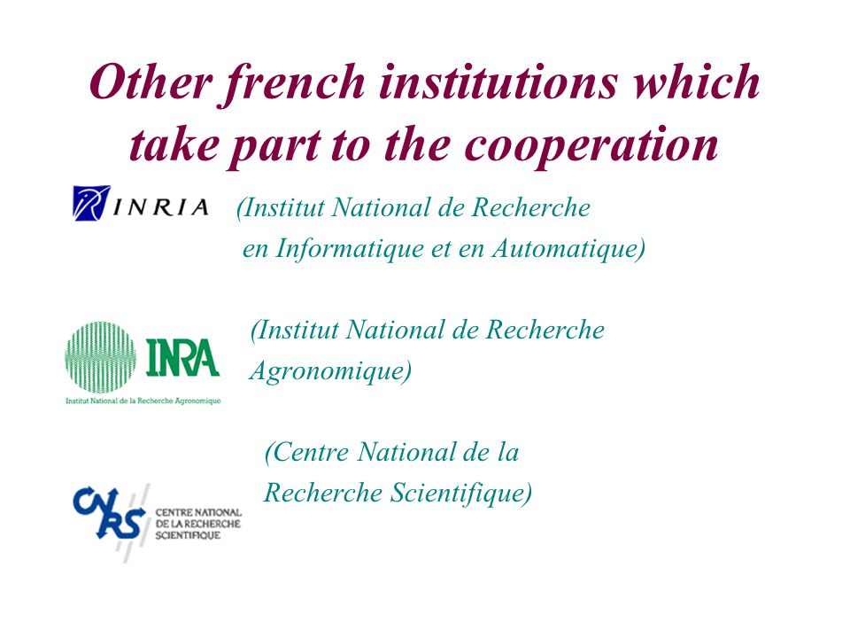 Other french institutions which take part to the cooperation (Institut National de Recherche en Informatique et en Automatique) (Institut National de Recherche Agronomique) (Centre National de la Recherche Scientifique)