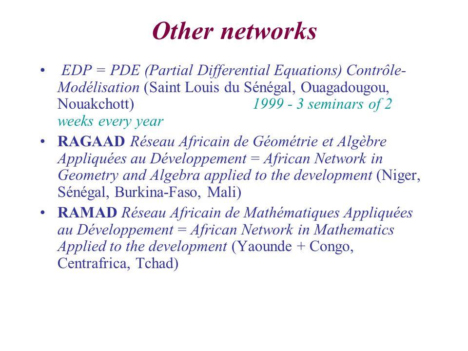 Other networks EDP = PDE (Partial Differential Equations) Contrôle- Modélisation (Saint Louis du Sénégal, Ouagadougou, Nouakchott) 1999 - 3 seminars of 2 weeks every year RAGAAD Réseau Africain de Géométrie et Algèbre Appliquées au Développement = African Network in Geometry and Algebra applied to the development (Niger, Sénégal, Burkina-Faso, Mali) RAMAD Réseau Africain de Mathématiques Appliquées au Développement = African Network in Mathematics Applied to the development (Yaounde + Congo, Centrafrica, Tchad)