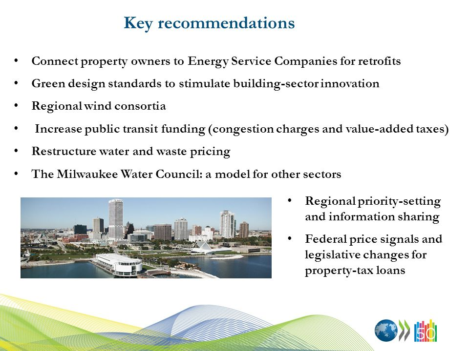 Key recommendations Connect property owners to Energy Service Companies for retrofits Green design standards to stimulate building-sector innovation Regional wind consortia Increase public transit funding (congestion charges and value-added taxes) Restructure water and waste pricing The Milwaukee Water Council: a model for other sectors Regional priority-setting and information sharing Federal price signals and legislative changes for property-tax loans