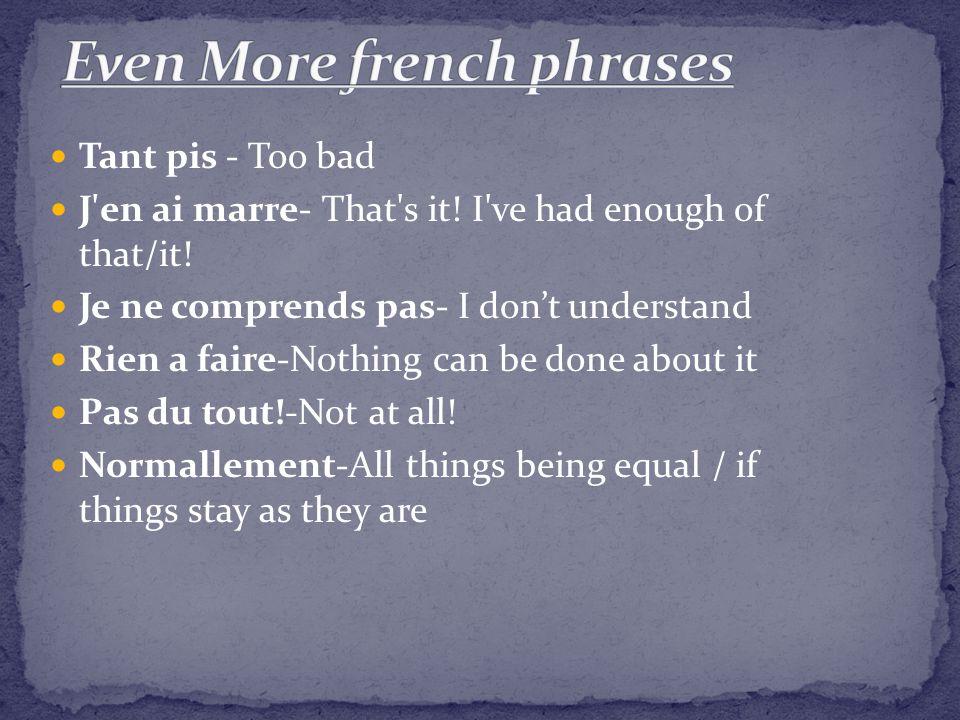 Tant pis - Too bad J en ai marre- That s it. I ve had enough of that/it.