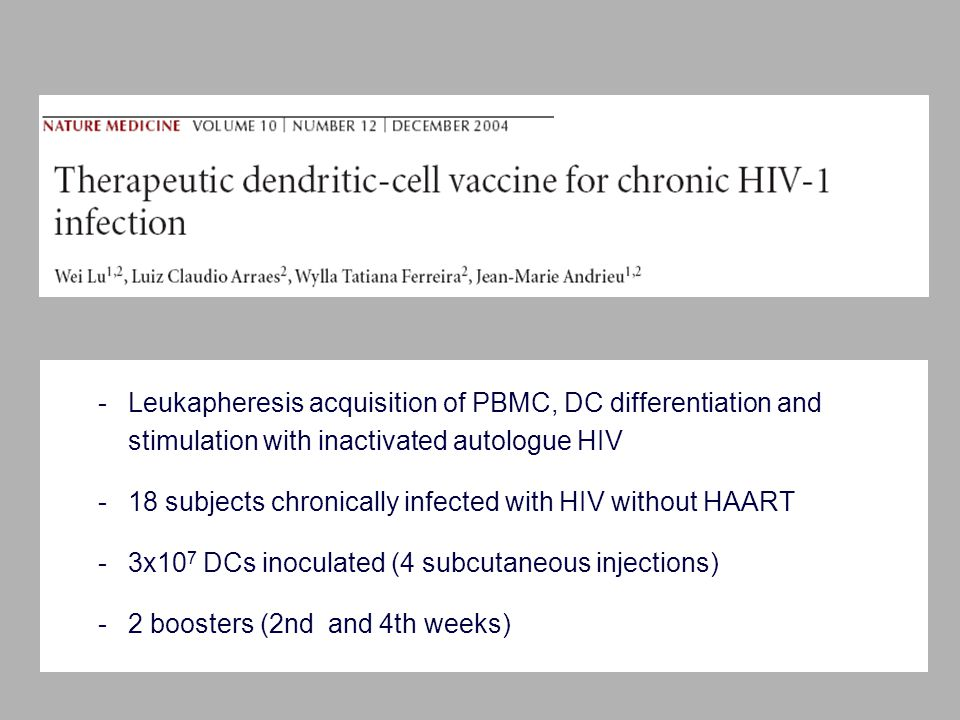 -Leukapheresis acquisition of PBMC, DC differentiation and stimulation with inactivated autologue HIV -18 subjects chronically infected with HIV without HAART -3x10 7 DCs inoculated (4 subcutaneous injections) -2 boosters (2nd and 4th weeks)