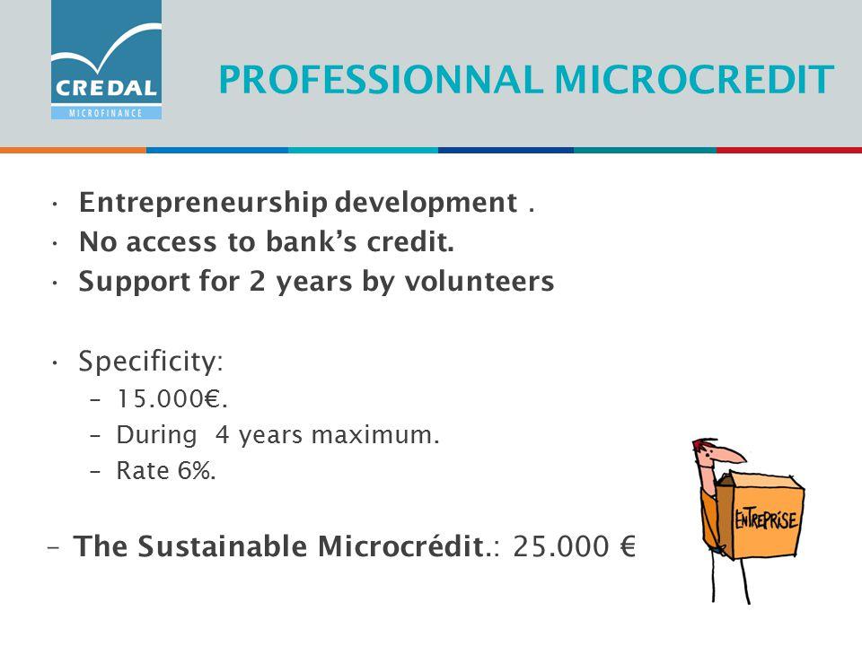 PROFESSIONNAL MICROCREDIT Entrepreneurship development.