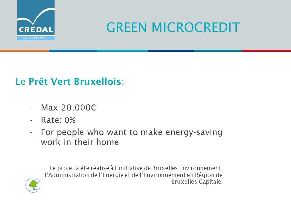 GREEN MICROCREDIT Le Prêt Vert Bruxellois: -Max 20.000€ -Rate: 0% -For people who want to make energy-saving work in their home Le projet a été réalisé à l'initiative de Bruxelles Environnement, l'Administration de l'Energie et de l'Environnement en Région de Bruxelles-Capitale.