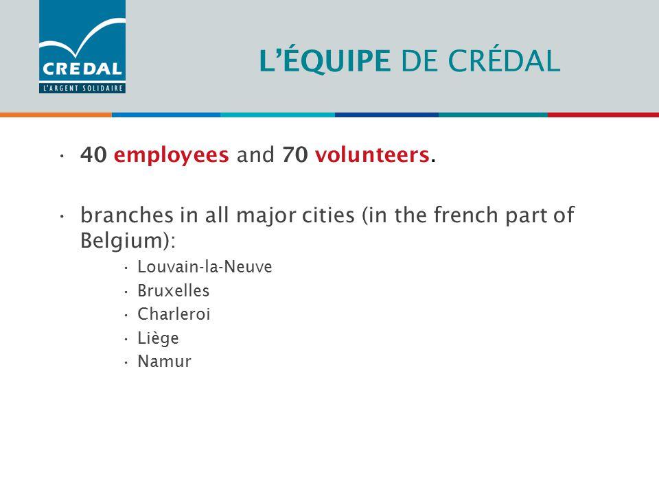L'ÉQUIPE DE CRÉDAL 40 employees and 70 volunteers.