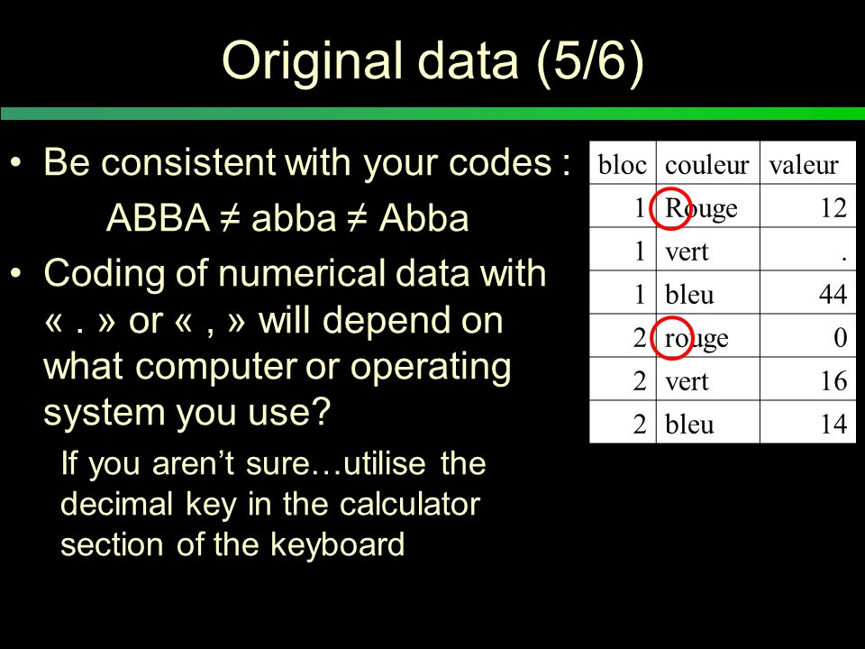 Original data (5/6) Be consistent with your codes : ABBA ≠ abba ≠ Abba Coding of numerical data with «.