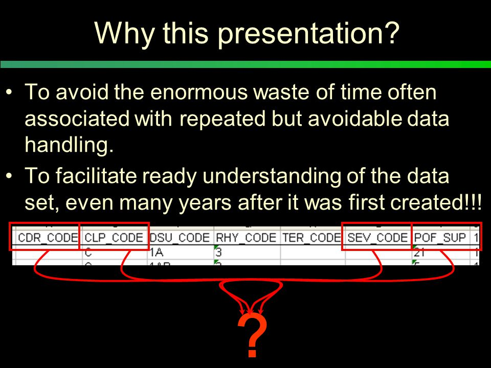 Why this presentation.