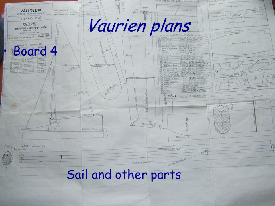 Vaurien plans Board 4 Sail and other parts