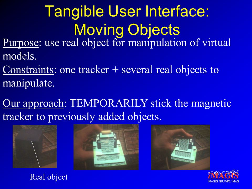 iMAGIS-GRAVIR / IMAG Tangible User Interface: Moving Objects Purpose: use real object for manipulation of virtual models.