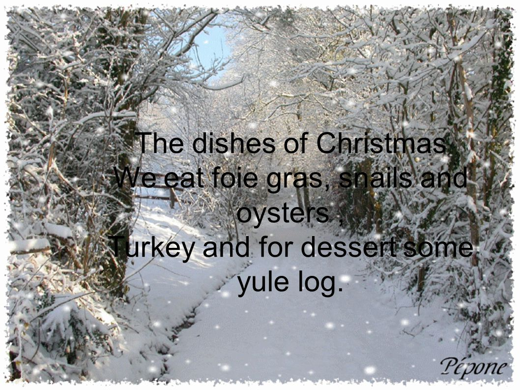 The dishes of Christmas We eat foie gras, snails and oysters, Turkey and for dessert some yule log.