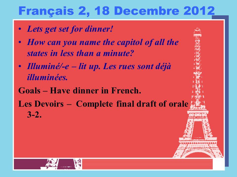 Français 2, 18 Decembre 2012 Lets get set for dinner.