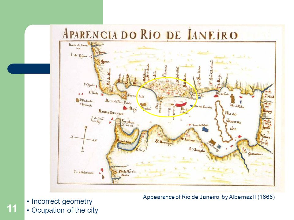 11 Appearance of Rio de Janeiro, by Albernaz II (1666) Incorrect geometry Ocupation of the city