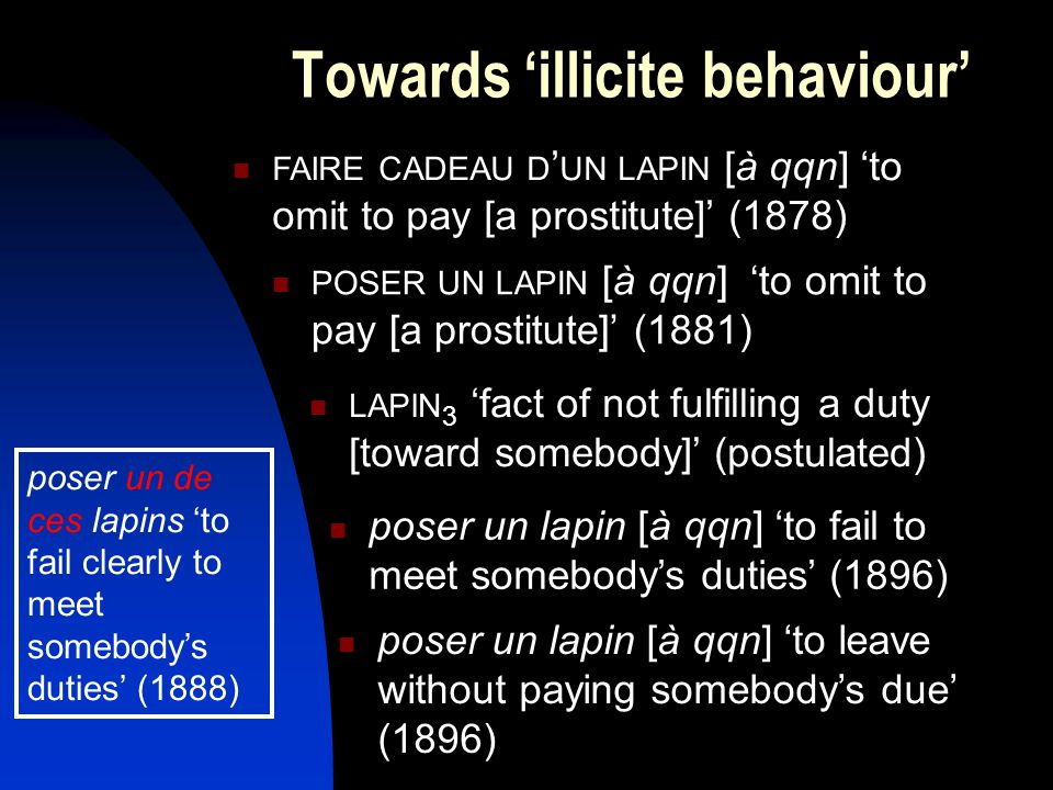 Towards 'illicite behaviour' FAIRE CADEAU D ' UN LAPIN [à qqn] 'to omit to pay [a prostitute]' (1878) POSER UN LAPIN [à qqn] 'to omit to pay [a prostitute]' (1881) LAPIN 3 'fact of not fulfilling a duty [toward somebody]' (postulated) poser un lapin [à qqn] 'to fail to meet somebody's duties' (1896) poser un lapin [à qqn] 'to leave without paying somebody's due' (1896) poser un de ces lapins 'to fail clearly to meet somebody's duties' (1888)