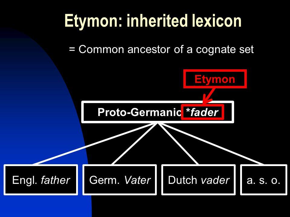 Etymon: borrowings Etymon = Borrowed lexical unit (of the donour langage) Engl.