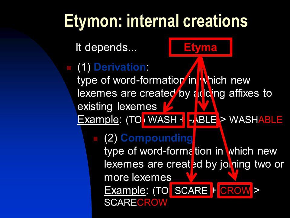 Etymon: internal creations Etyma It depends...