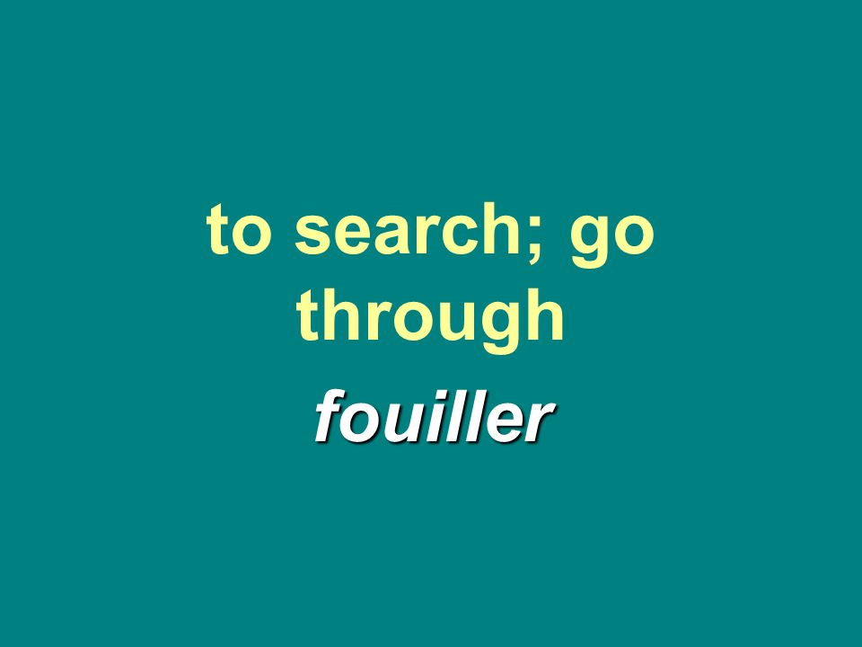 to search; go through fouiller