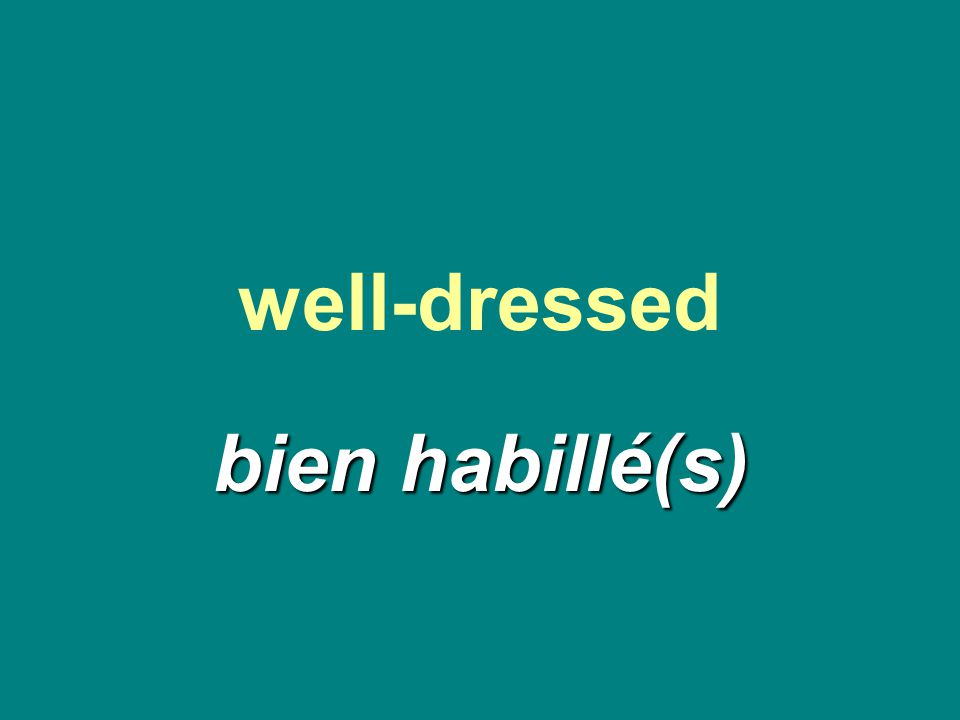 well-dressed bien habillé(s)