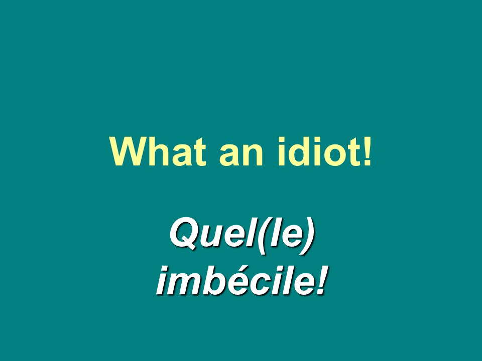 What an idiot! Quel(le) imbécile!