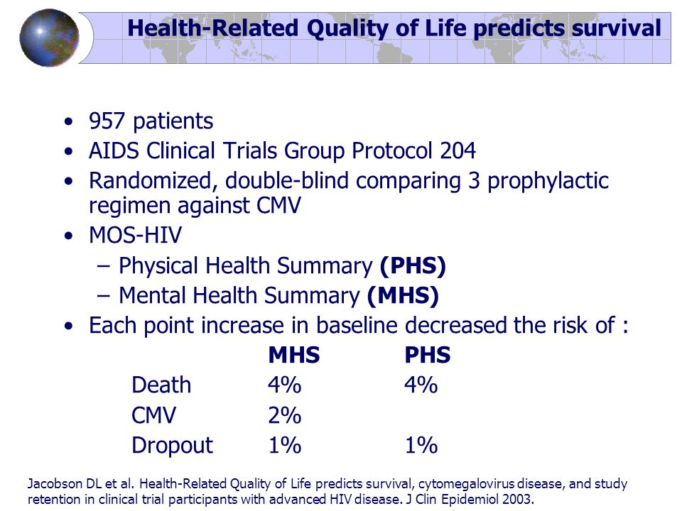 Health-Related Quality of Life predicts survival 957 patients AIDS Clinical Trials Group Protocol 204 Randomized, double-blind comparing 3 prophylactic regimen against CMV MOS-HIV –Physical Health Summary (PHS) –Mental Health Summary (MHS) Each point increase in baseline decreased the risk of : MHSPHS Death 4%4% CMV 2% Dropout 1%1% Jacobson DL et al.