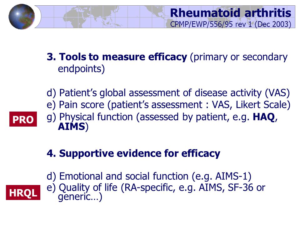 3. Tools to measure efficacy (primary or secondary endpoints) d) Patient's global assessment of disease activity (VAS) e) Pain score (patient's assess