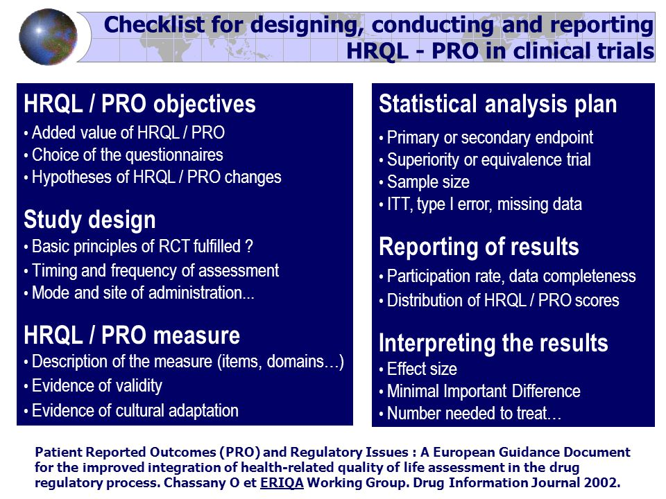 Checklist for designing, conducting and reporting HRQL - PRO in clinical trials HRQL / PRO objectives Added value of HRQL / PRO Choice of the questionnaires Hypotheses of HRQL / PRO changes Study design Basic principles of RCT fulfilled .