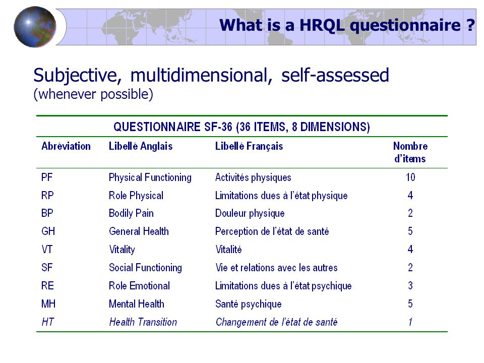 Subjective, multidimensional, self-assessed (whenever possible) What is a HRQL questionnaire ?