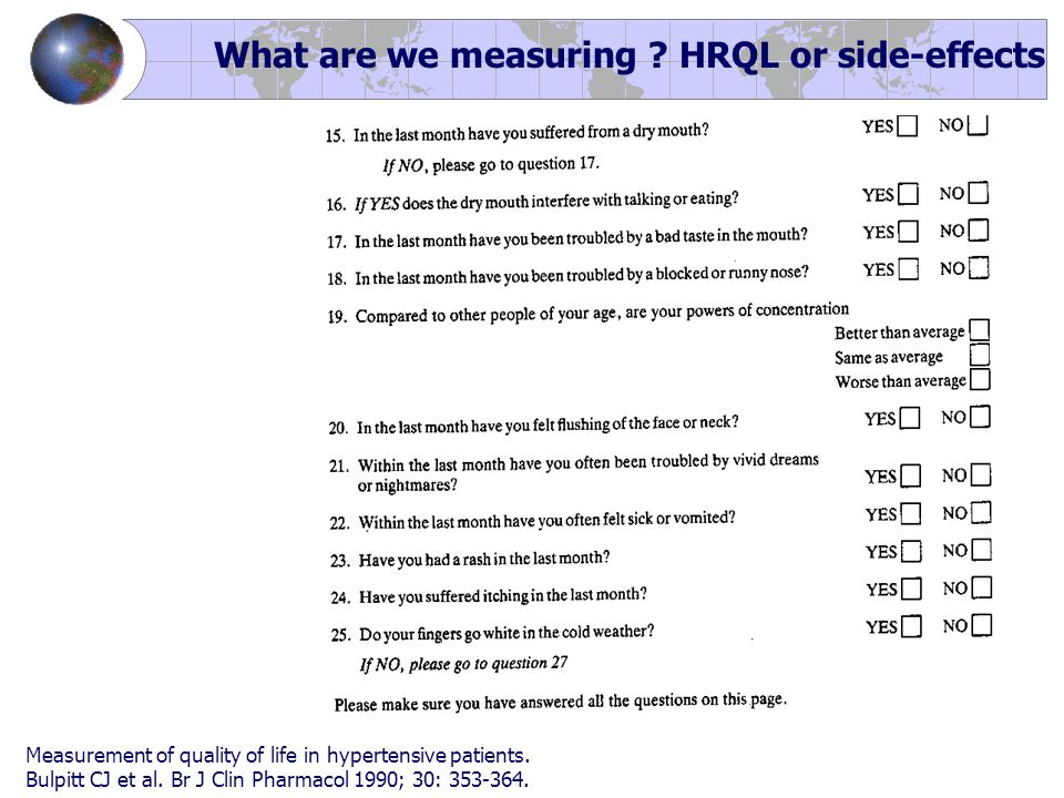 What are we measuring ? HRQL or side-effects Measurement of quality of life in hypertensive patients. Bulpitt CJ et al. Br J Clin Pharmacol 1990; 30: