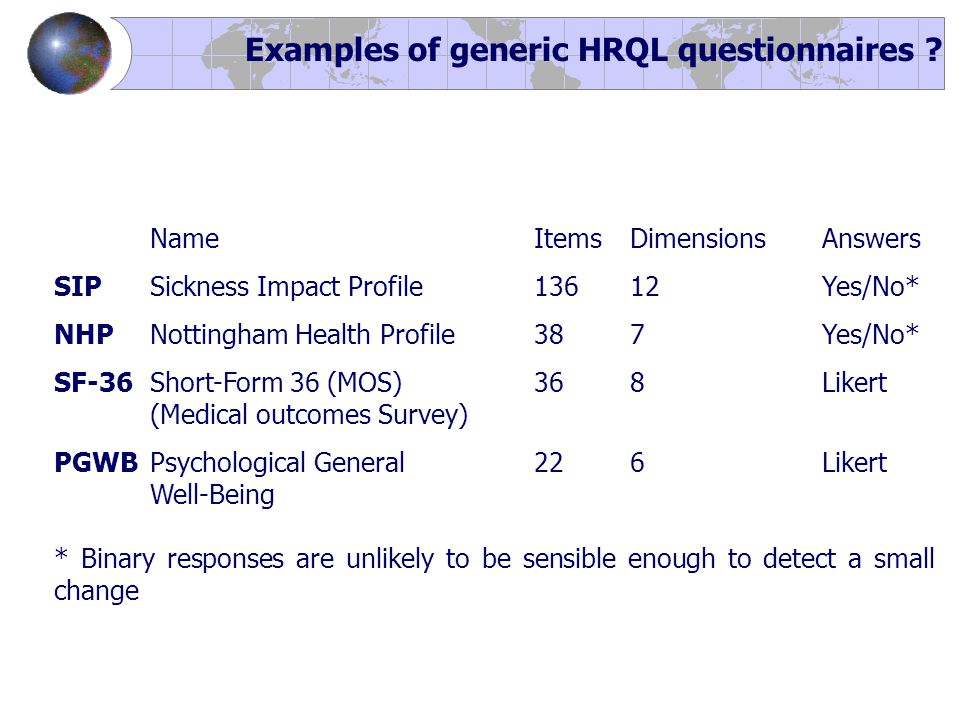 NameItemsDimensionsAnswers SIPSickness Impact Profile136 12 Yes/No* NHPNottingham Health Profile387Yes/No* SF-36Short-Form 36 (MOS)368Likert (Medical