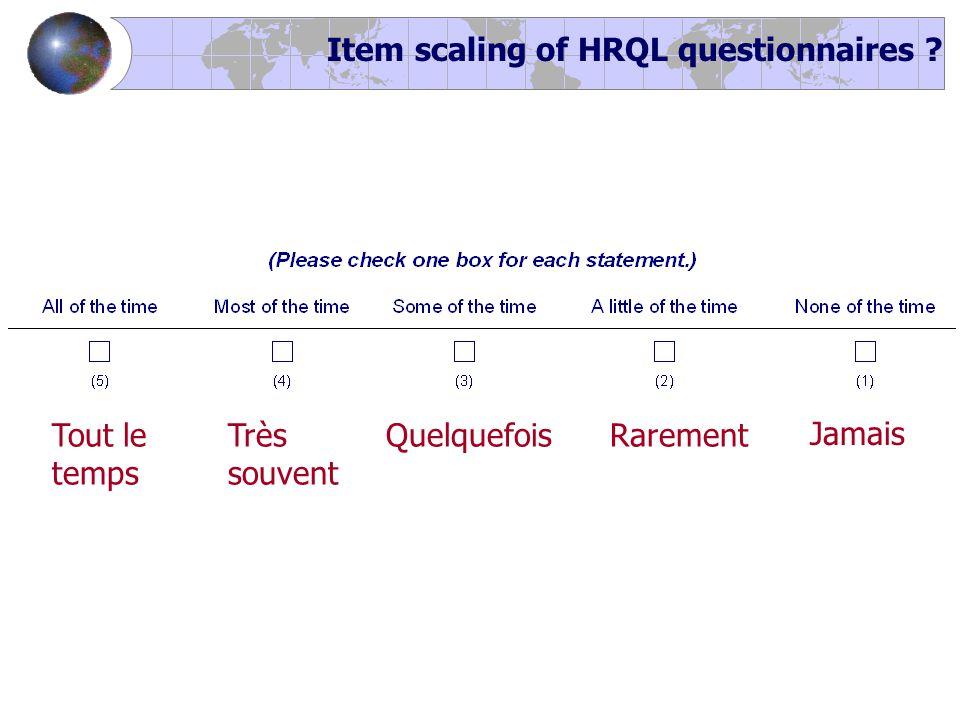 Tout le temps Jamais QuelquefoisRarementTrès souvent Item scaling of HRQL questionnaires