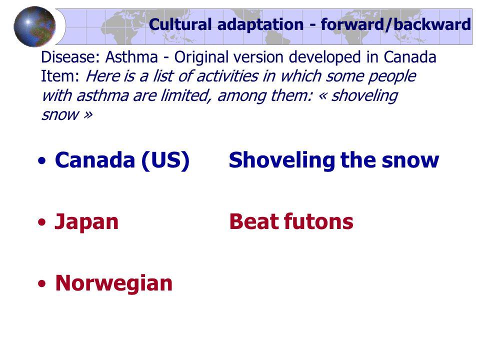 Canada (US) Shoveling the snow JapanBeat futons Norwegian Cultural adaptation - forward/backward Disease: Asthma - Original version developed in Canad