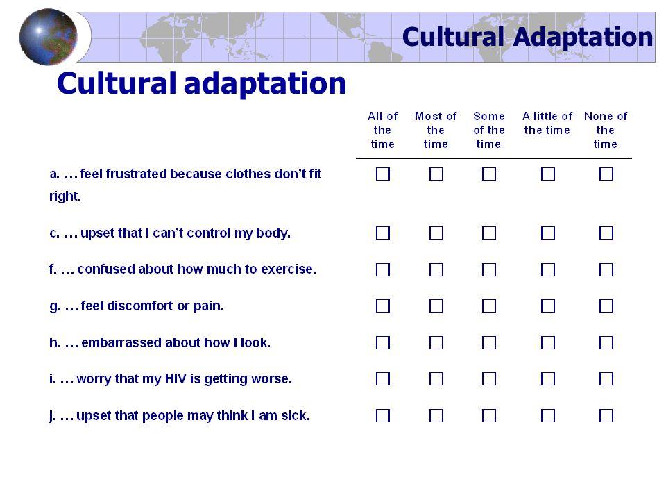 Cultural Adaptation Cultural adaptation