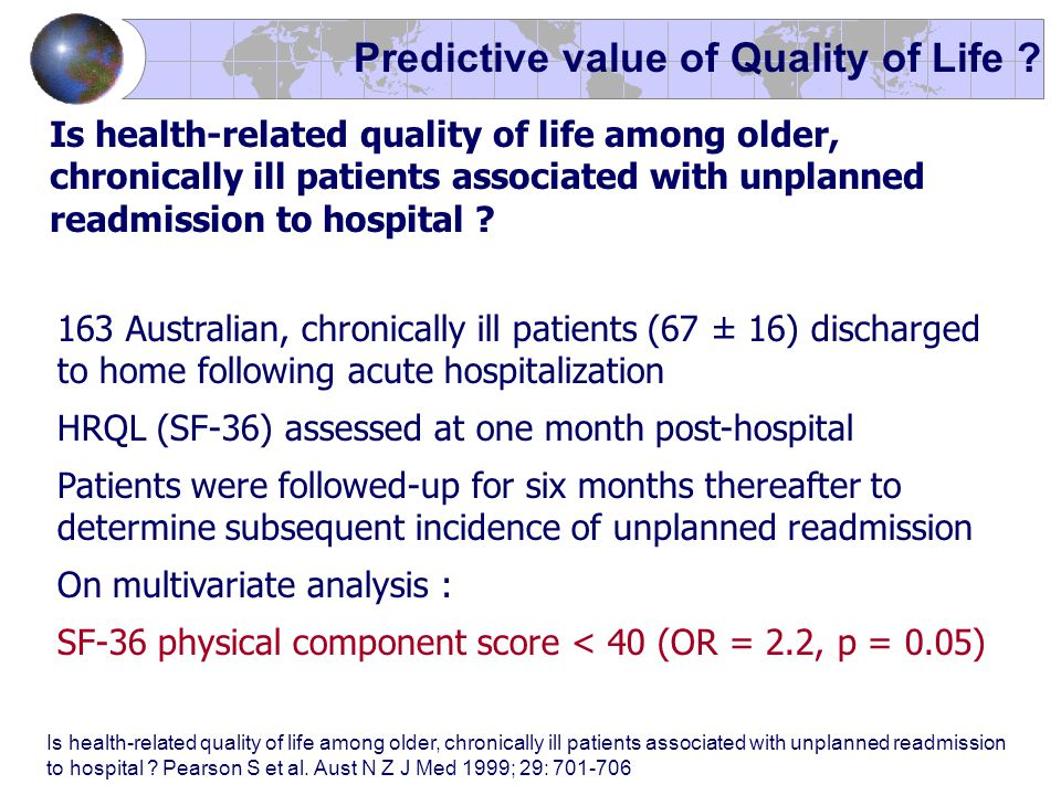 Is health-related quality of life among older, chronically ill patients associated with unplanned readmission to hospital ? 163 Australian, chronicall