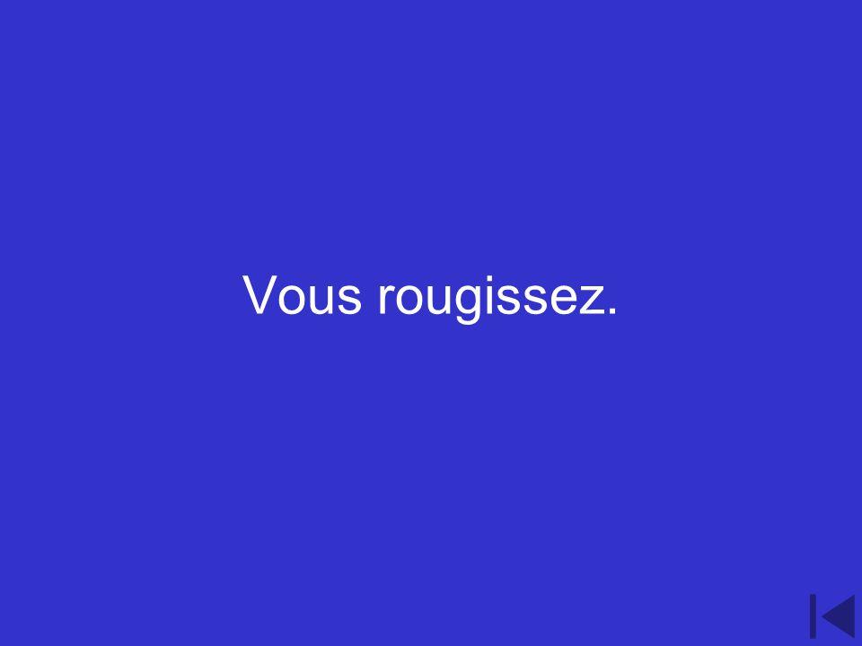 2.300 point question Conjugate the verb rougir to suit the following pronoun vous.