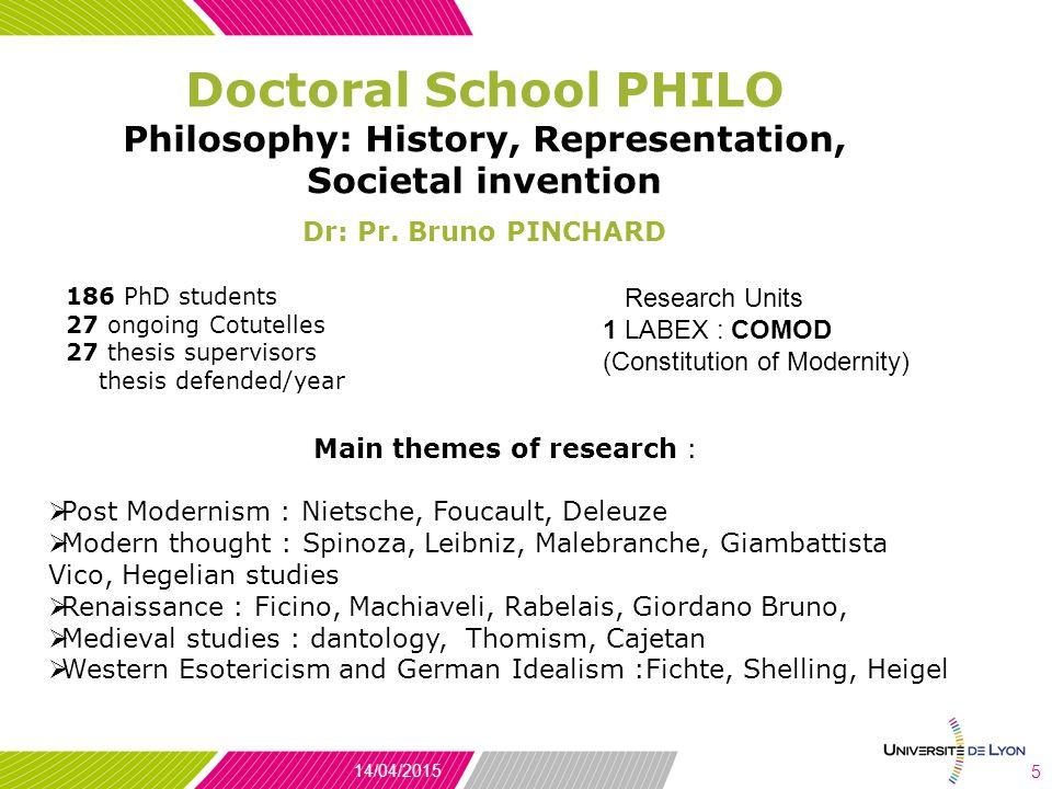 Doctoral School PHILO Philosophy: History, Representation, Societal invention Dr: Pr.