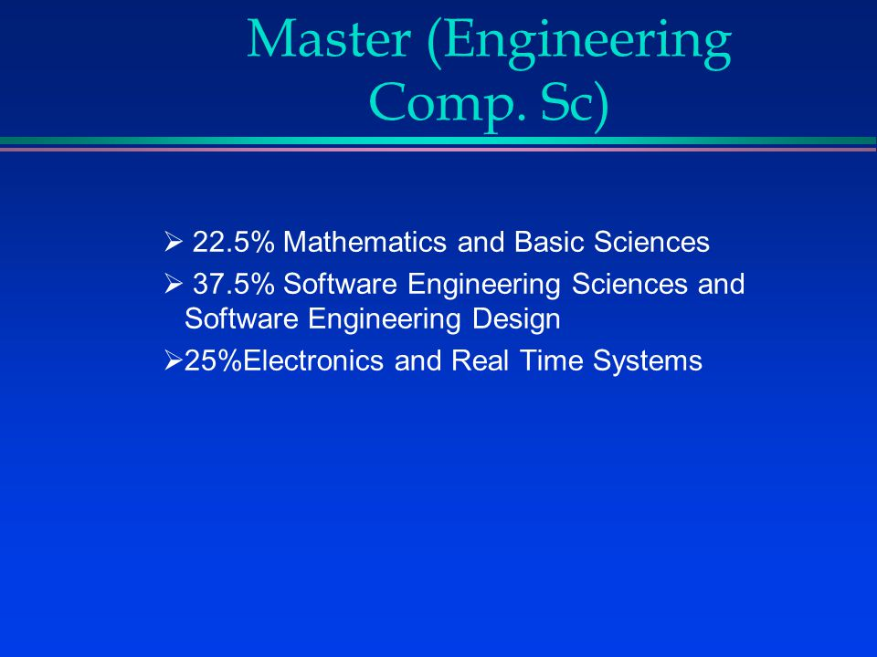 Curriculum Structure for Master (Engineering Comp.