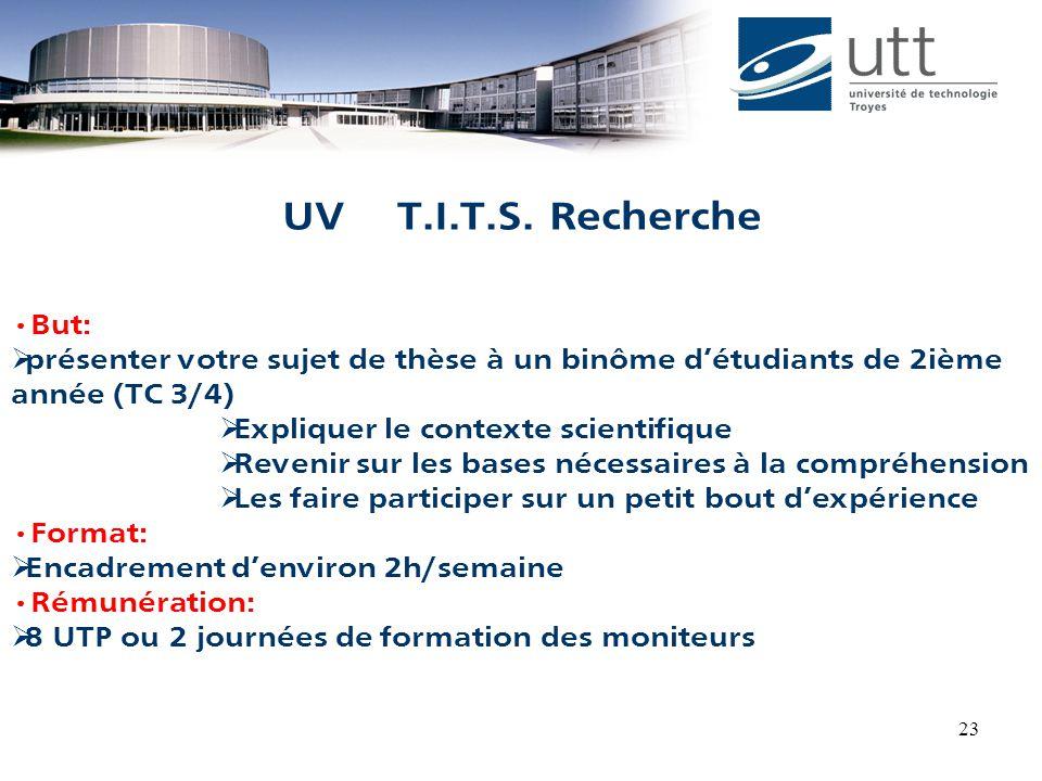 23 But:  présenter votre sujet de thèse à un binôme d'étudiants de 2ième année (TC 3/4)  Expliquer le contexte scientifique  Revenir sur les bases nécessaires à la compréhension  Les faire participer sur un petit bout d'expérience Format:  Encadrement d'environ 2h/semaine Rémunération:  8 UTP ou 2 journées de formation des moniteurs UV T.I.T.S.
