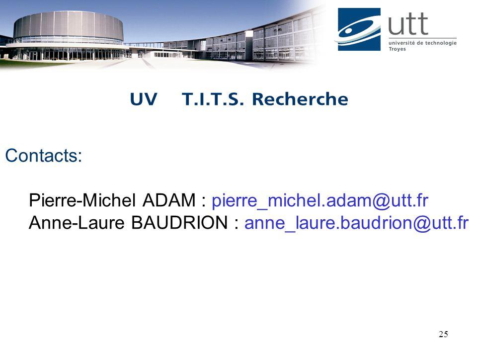 25 Contacts: Pierre-Michel ADAM : pierre_michel.adam@utt.fr Anne-Laure BAUDRION : anne_laure.baudrion@utt.fr UV T.I.T.S.