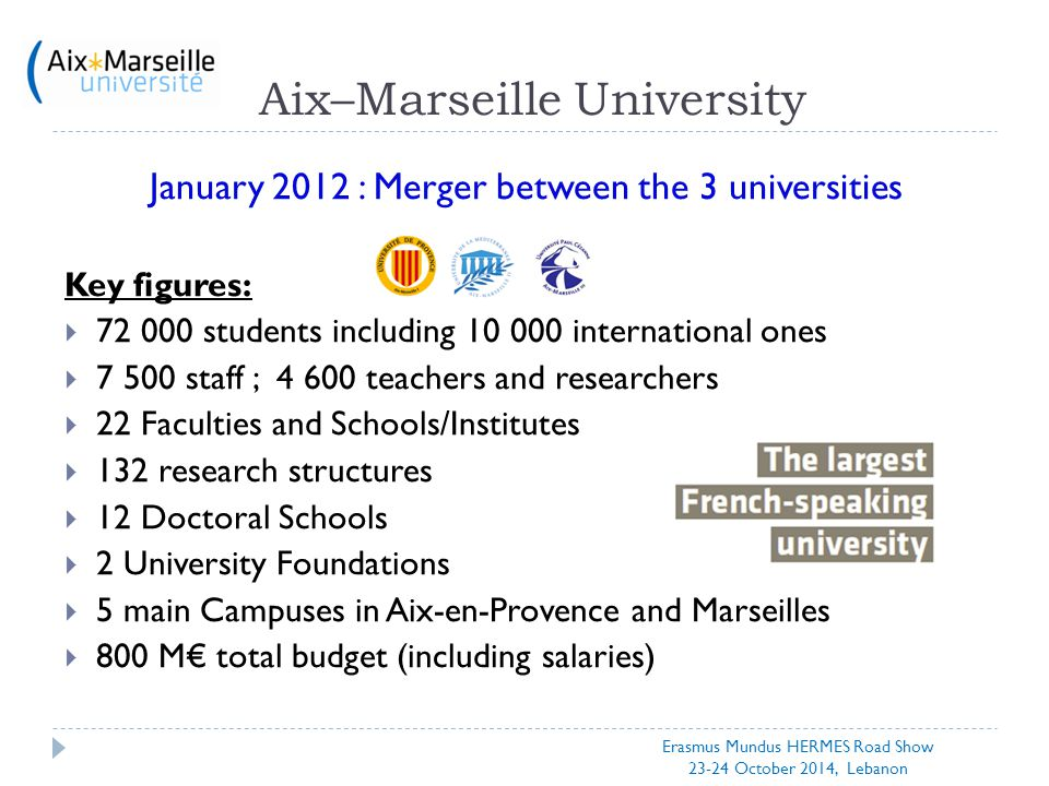 Aix–Marseille University January 2012 : Merger between the 3 universities Key figures:  72 000 students including 10 000 international ones  7 500 s
