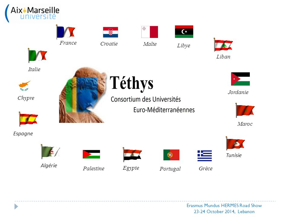 Thank you for your attention Contact: Michel Autric, Executive Director michel.autric@univ-amu.frmichel.autric@univ-amu.fr Ophélie Garnier, Project Manager ophelie.garnier@univ-amu.fr http://www.tethys-univ.org/ Erasmus Mundus HERMES Road Show 23-24 October 2014, Lebanon