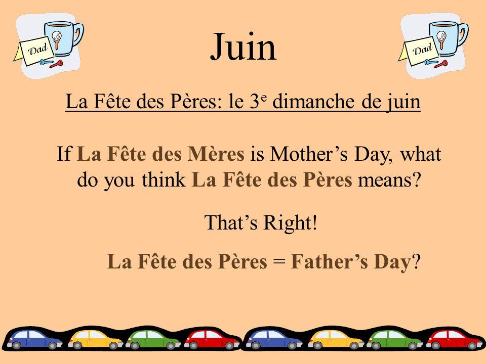 Juin La Fête des Pères: le 3 e dimanche de juin If La Fête des Mères is Mother's Day, what do you think La Fête des Pères means.