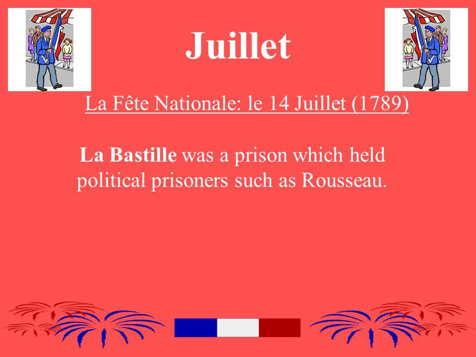 Juillet La Fête Nationale: le 14 Juillet (1789) La Bastille was a prison which held political prisoners such as Rousseau.
