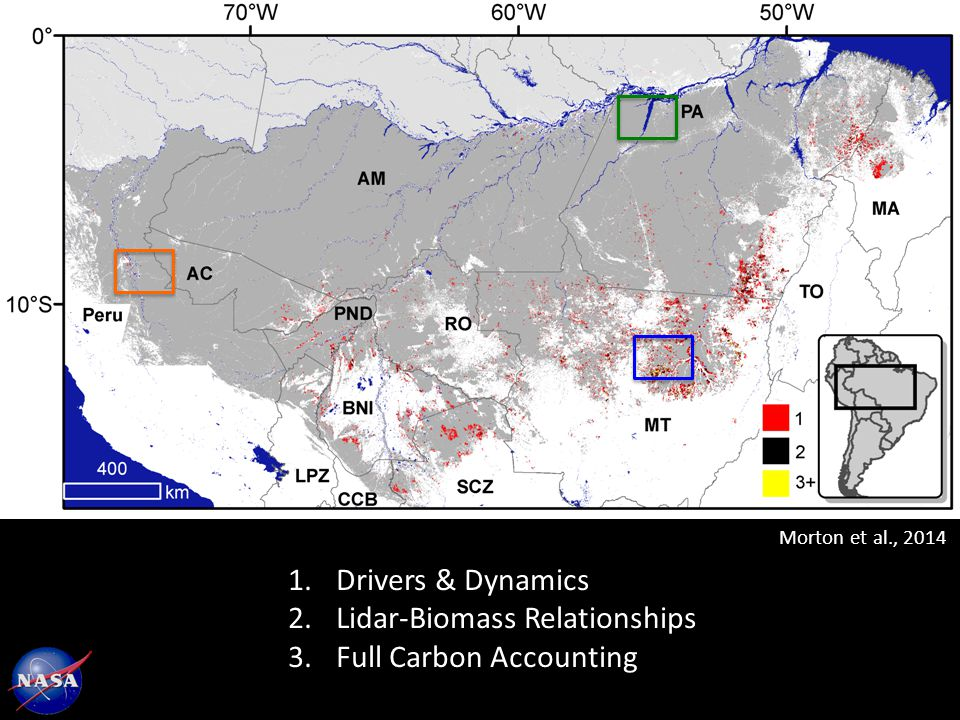 Morton et al., Drivers & Dynamics 2.Lidar-Biomass Relationships 3.Full Carbon Accounting