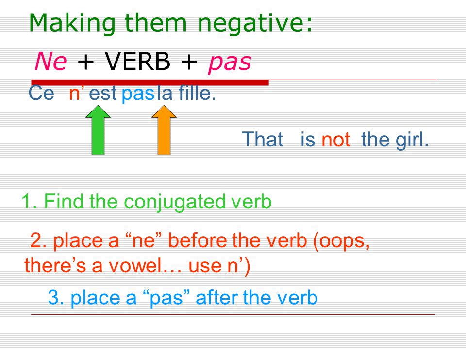 """Ne + VERB + pas Ce est la fille. That is the girl. 1. Find the conjugated verb n'pas 2. place a """"ne"""" before the verb (oops, there's a vowel… use n') 3"""
